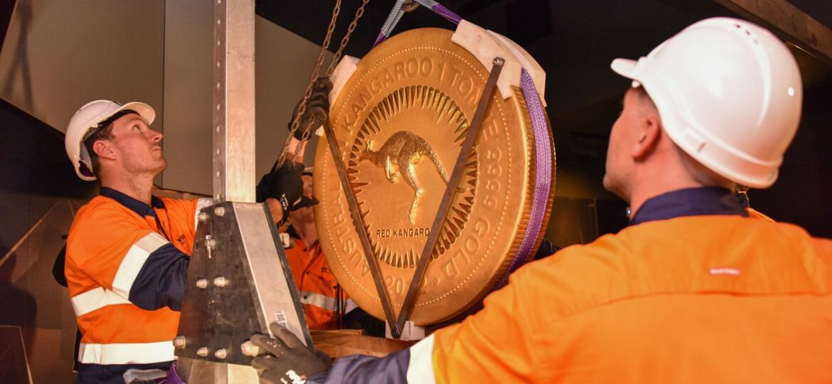 The Perth Mint's 2,200-pound gold coin is loaded up for transport.