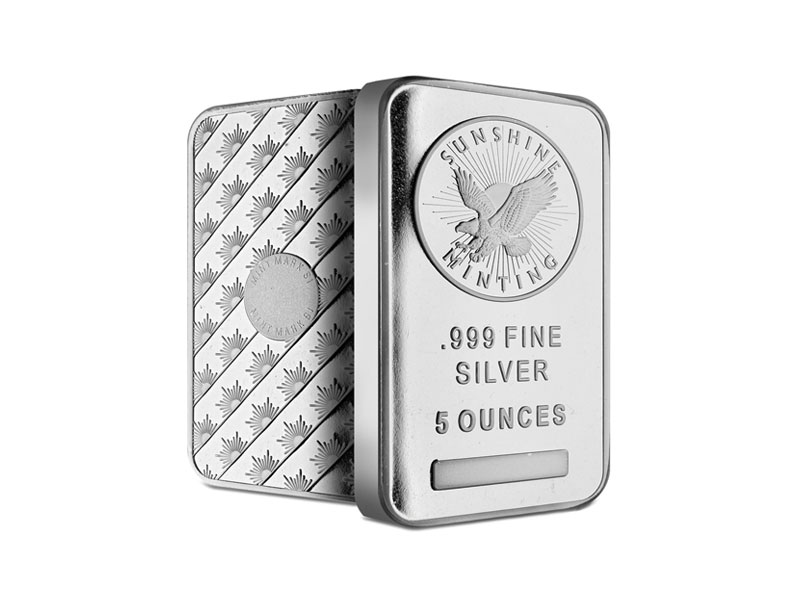Gold and silver product - 5 OZ. SUNSHINE SILVER BAR