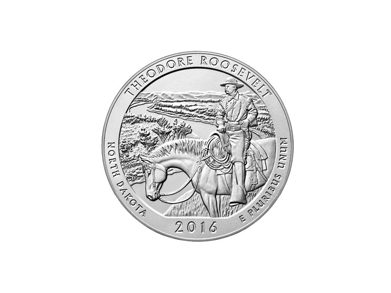 Gold and silver product - THEODORE ROOSEVELT NATIONAL PARK 5 OZ. SILVER COIN