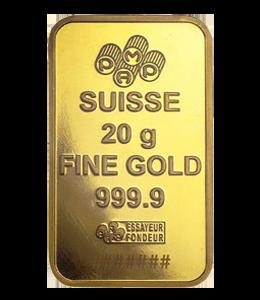 Gold Bars - Suisse 20 gram Back