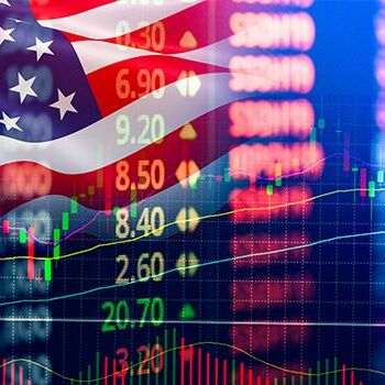 Graphic of changing market with American flag in the background.